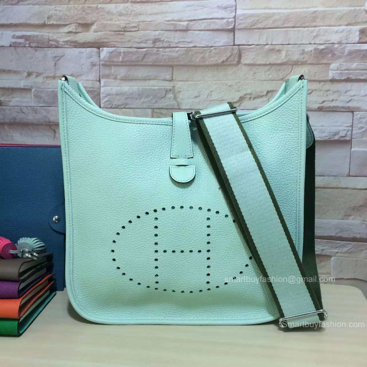 Hermes Evelyne III Bag GM in Mint Green Togo Leather