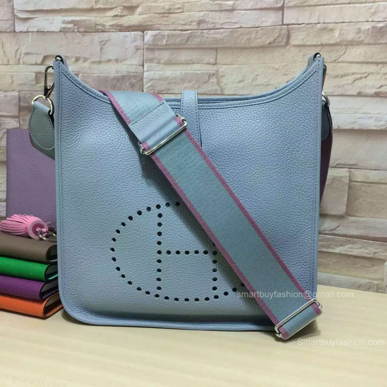 Hermes Evelyne III Bag GM in Ice Blue Togo Leather