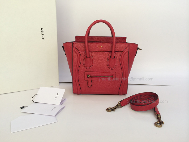 1 1 Nano Luggage Celine Bag in Red Crisped Calfskin 23dcc0d8f0c46