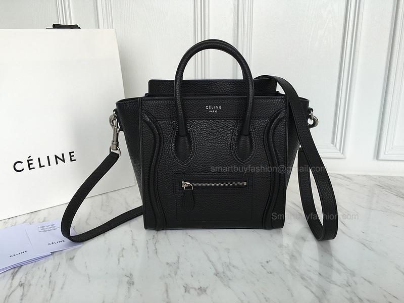 Ultimate Replica Celine Luggage Nano Bag in Black Grained Calfskin 85d870f627e3f