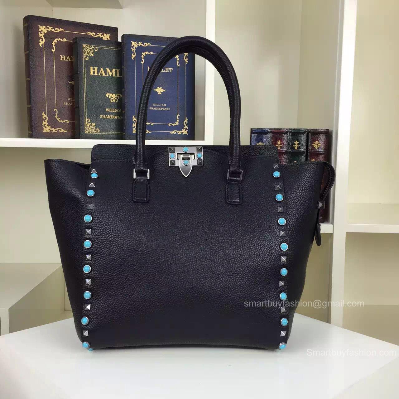 7529b56b5c Valentino Garavani Black Rockstud Rolling Double Handle Bag 19112B -