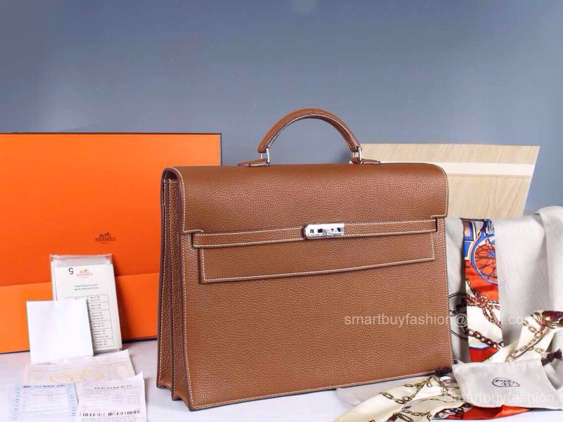 Hermes Kelly Depeche 38 Briefcase Brown Clemence Handstitched Silver ... 086deaa9907f6