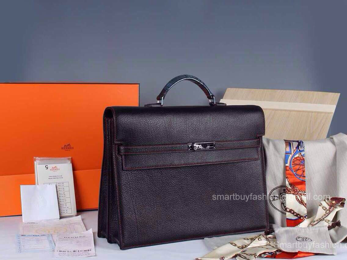 ... france hermes kelly depeche 38 briefcase black w red stitch clemence  handstitched silve cdb95 673c6 ... a9a5b7b68460e