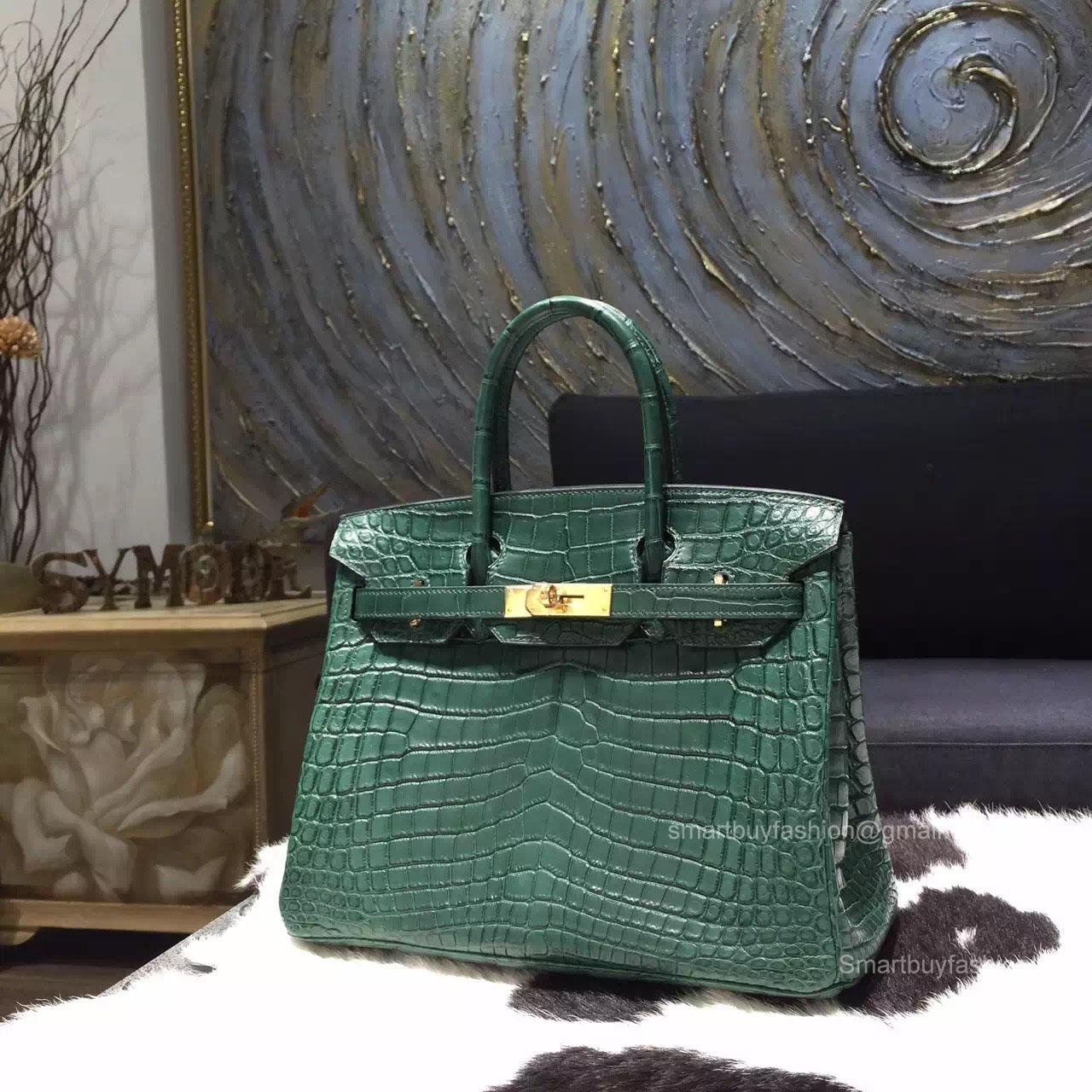 ee243c10684d Hermes Birkin 30 Bag Vert Fonce Crocodile Leather Handstitched Gold hw ...