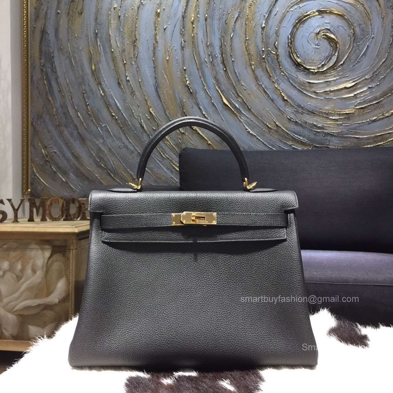 0680a5f17c39 Hermes Kelly 28 Bag Black Togo Leather Handstitched Gold hw -