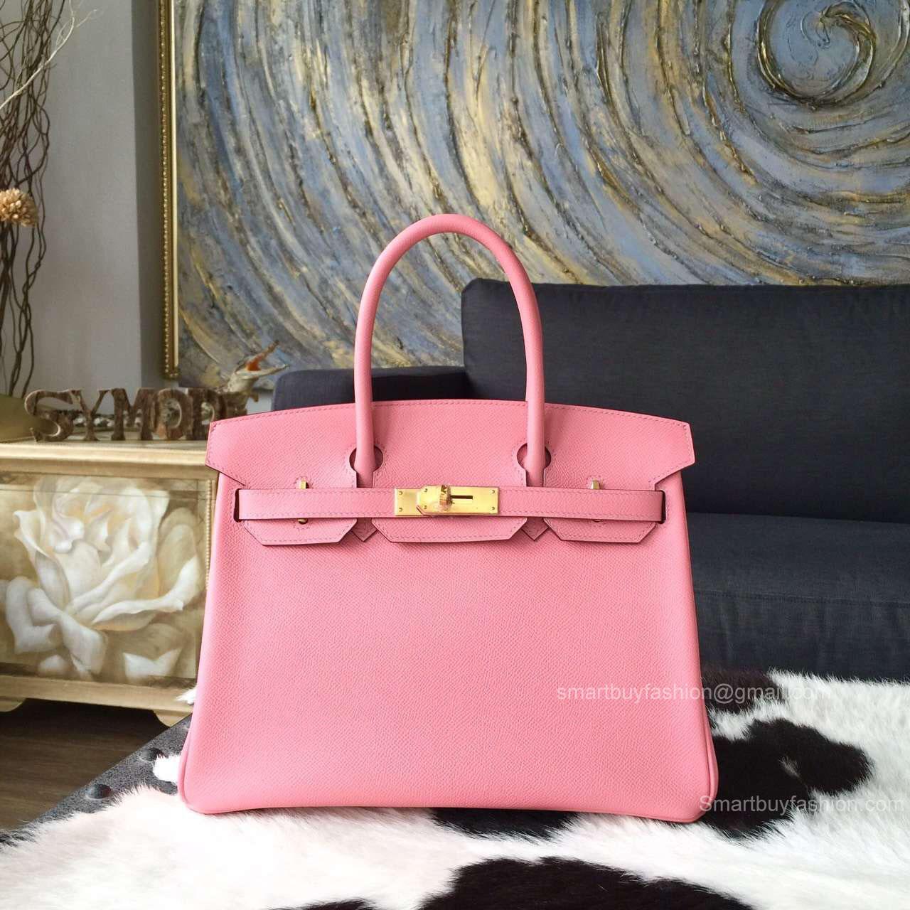 47d172fd4a Hermes Birkin 35 Bag Rose Confetti 1q Epsom Leather Handstitched Gold hw