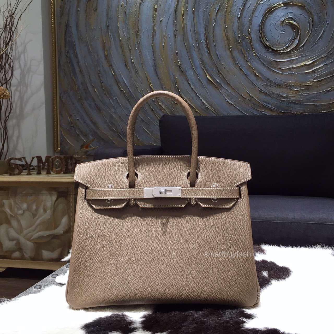 1cc110eb24f9 Hermes Birkin 35 Bag Etoupe Epsom Leather Handstitched Silver hw