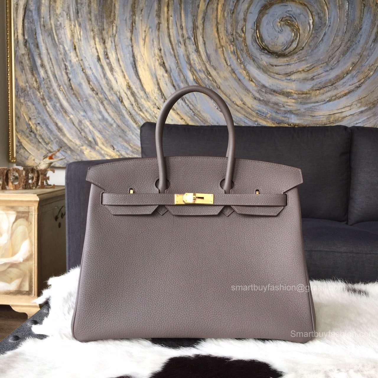 15a9c58ba033 Hermes Birkin 35 cm Togo Bag Etain 8f Handstitched Gold Hw -
