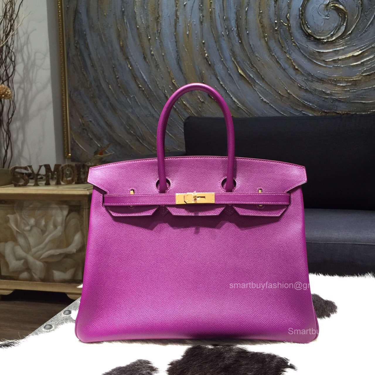 a49ca50a1d Hermes Birkin 35 Bag Anemone Epsom Leather Bag Handstitched Gold Hw