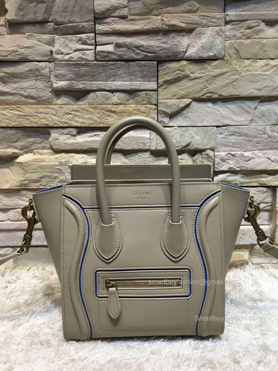 3a708f7bd5 Celine Nano Luggage Handbag with Interstice in Light Grey Smooth Calfskin