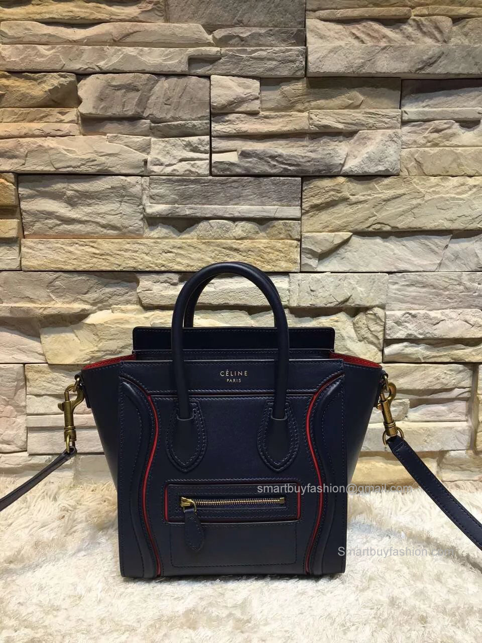 bb8d11d970 Celine Nano Luggage Handbag with Interstice in Navy Blue Smooth Calfskin