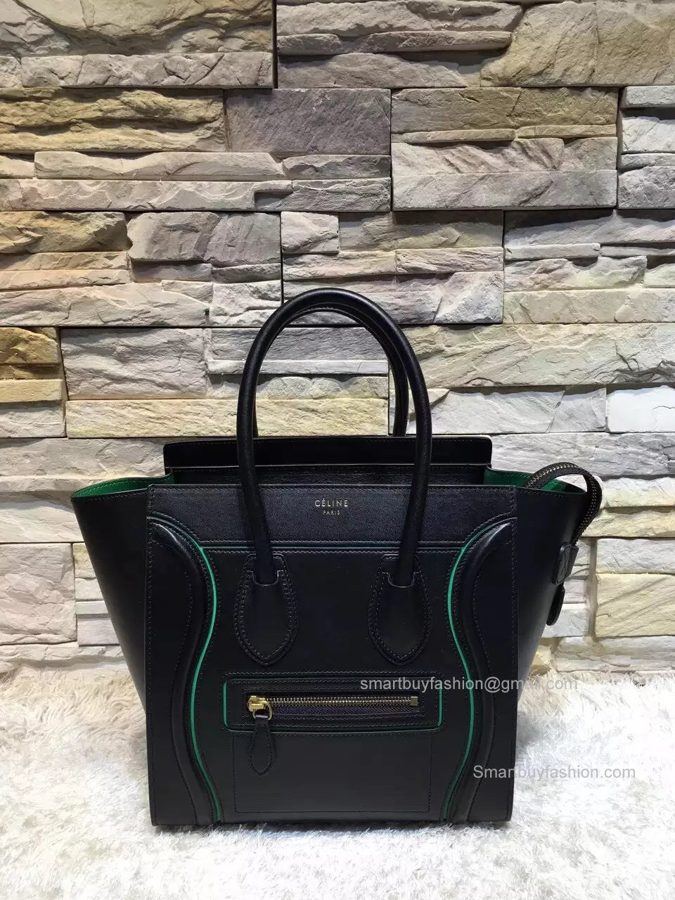 Celine Micro Luggage Handbag with Interstice in Black Smooth Calfskin 0ee522737f3cb