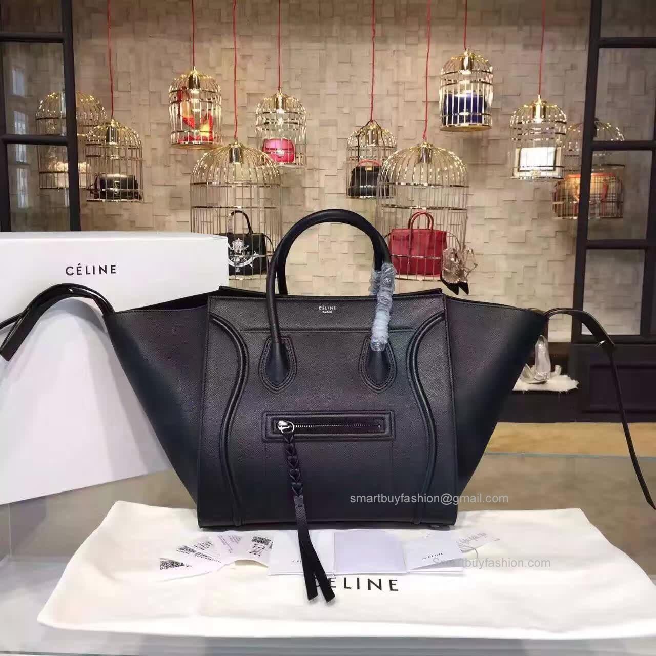 d487324ebda2 Réplique Céline Medium Luggage Phantom Handbag in Black Epsom Calfskin