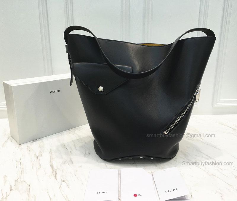 561cfd9ed05a Réplique Céline Bucket Biker Shoulder Bag in Black and Yellow Natural  Calfskin