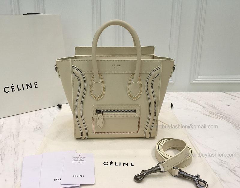 2afa8cad61 Réplique Céline Nano Luggage Bag with Multicolour Double Stitching Cream