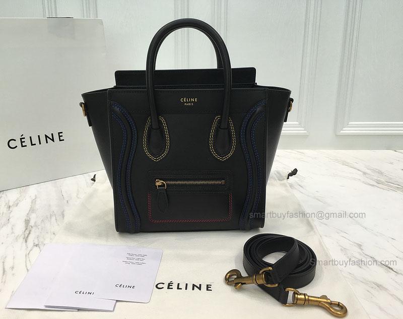 9c3b1a9045 Réplique Céline Nano Luggage Bag with Multicolour Double Stitching Black -
