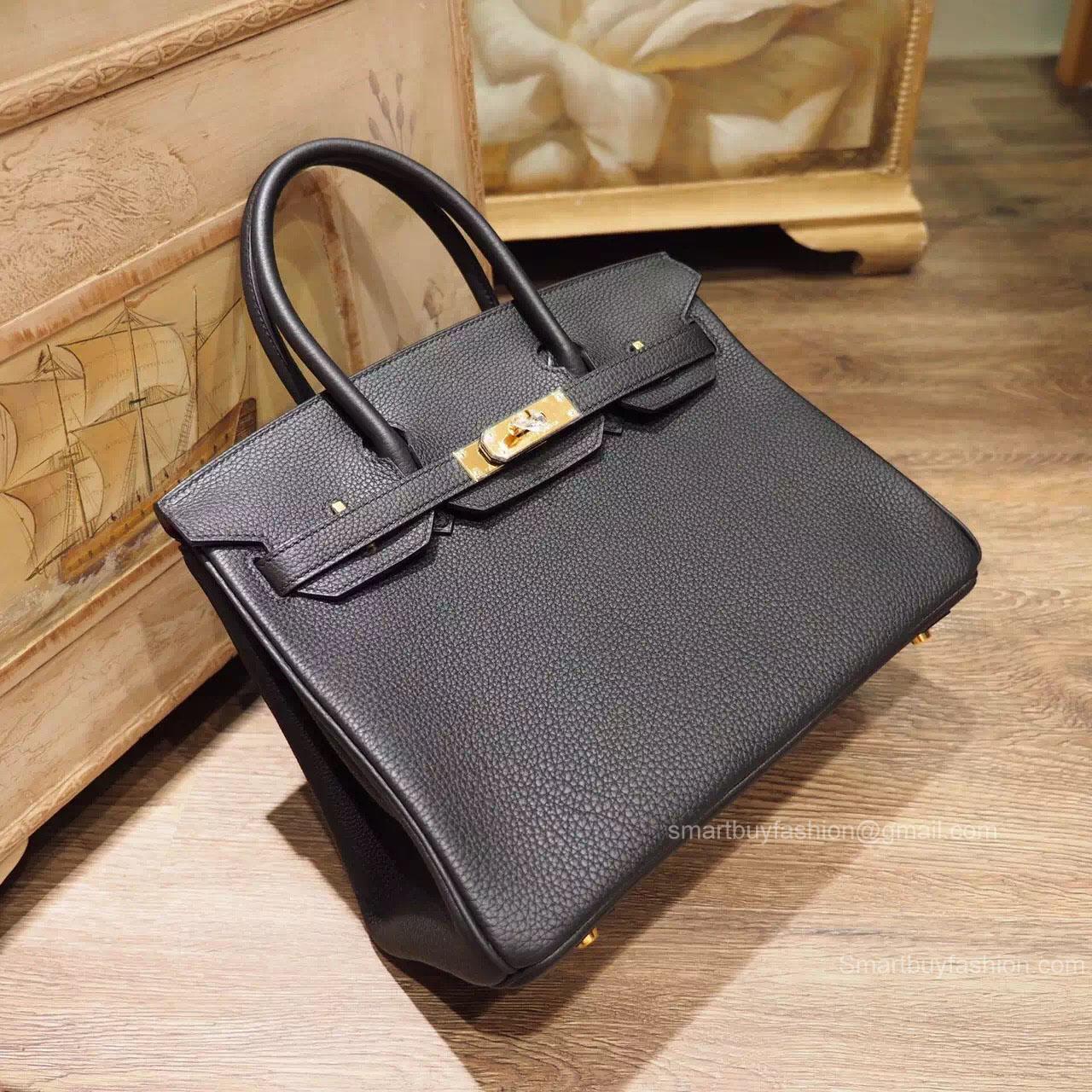 8ec17a786f8 Handstitched Hermes Birkin 30 Bag in Multicolored ck89 Noir Togo Calfskin  GHW