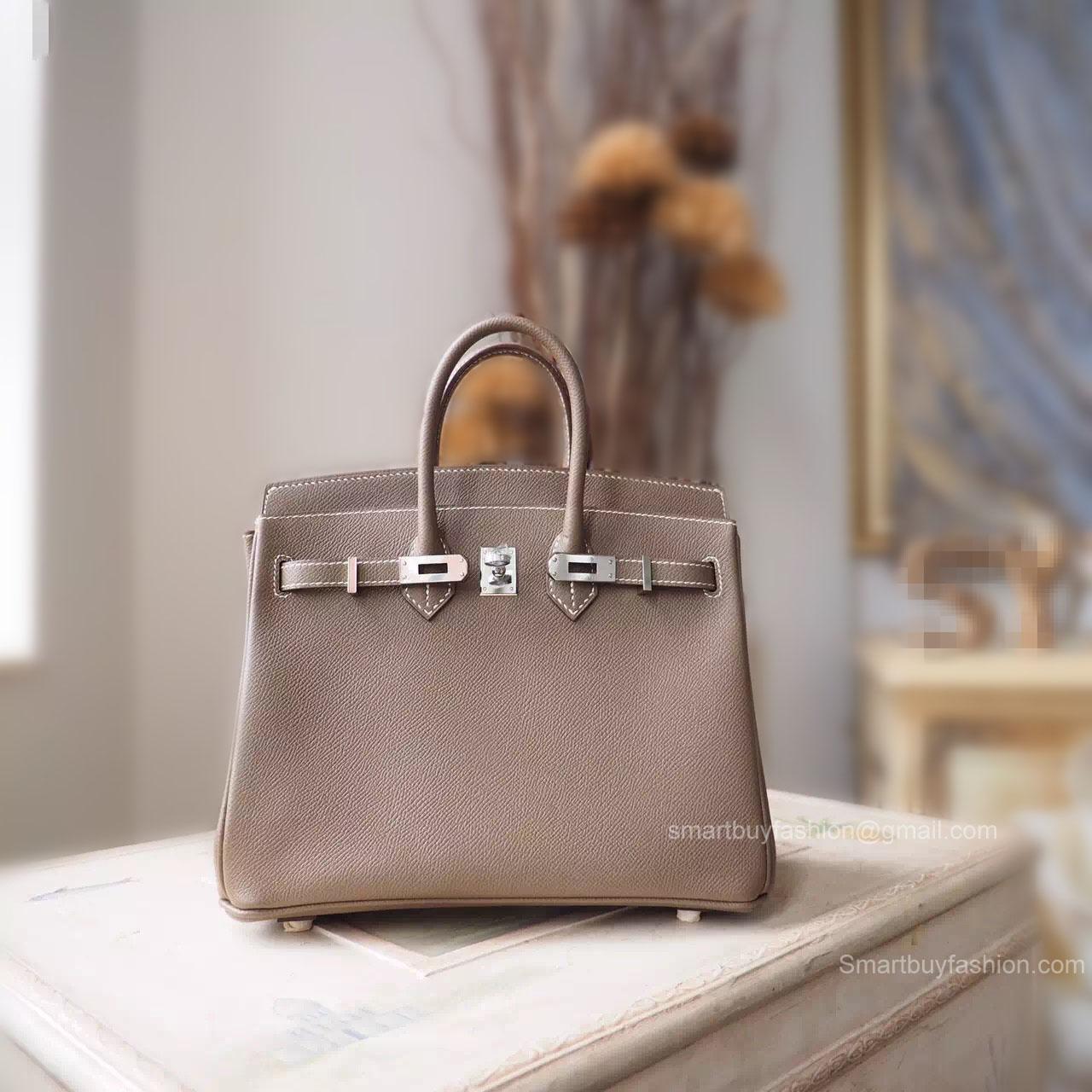 77e396906bb9 Handstitched Hermes Birkin 25 Bag in ck18 Etoupe Epsom Calfskin SHW -