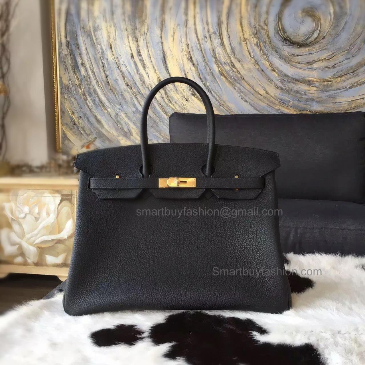 0884af1a819 Hand Stitched Hermes Birkin 35 Bag in Bicolored ck89 Noir Togo Calfskin GHW