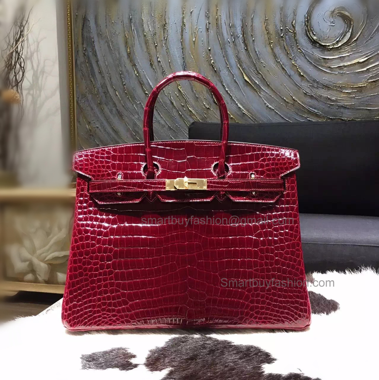 47a85b9e83f9 Hand Stitched Hermes Birkin 35 Bag in ck57 Bordeaux Shining Porosus Croc GHW