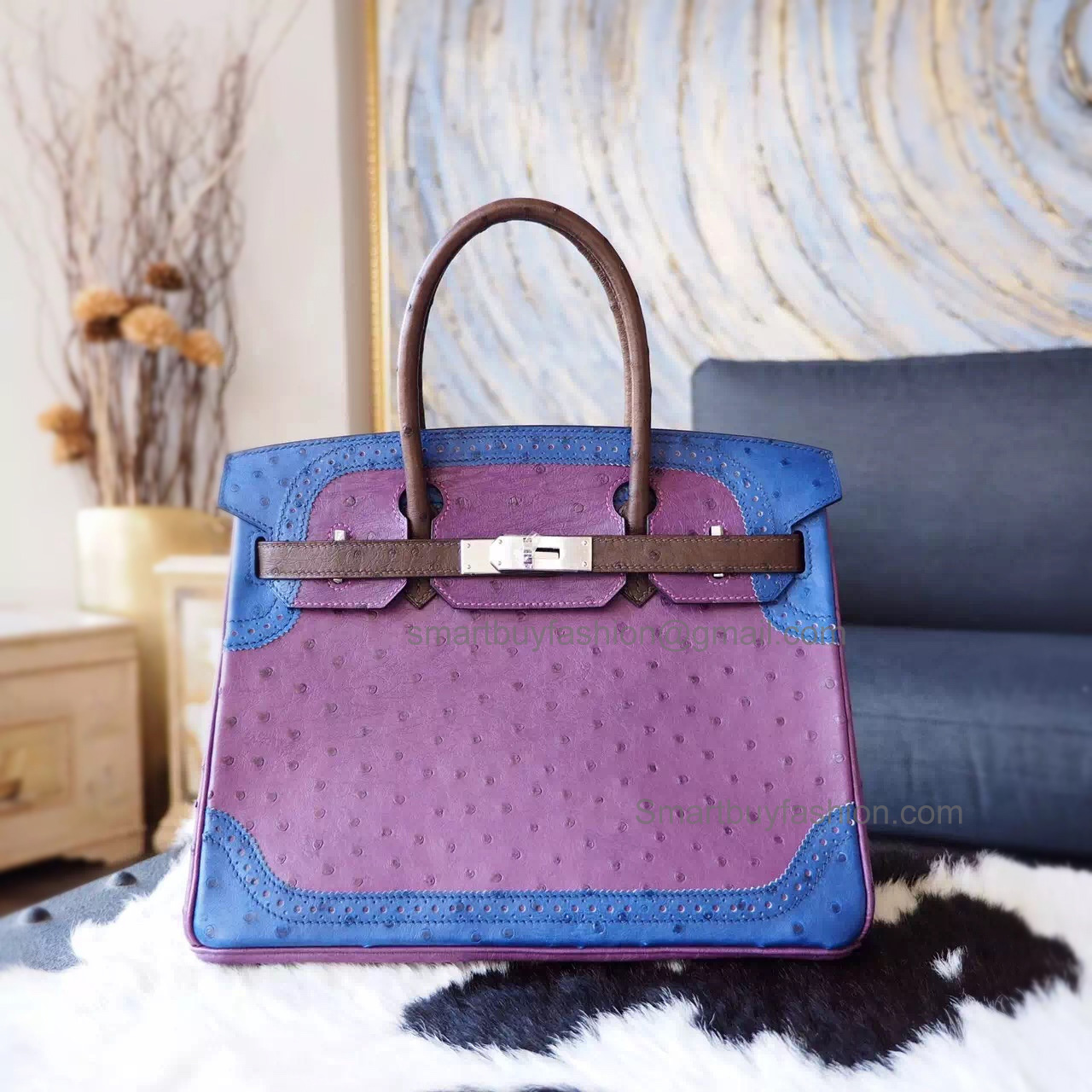 f5acb73353d4 Handstitched Hermes Birkin 30 Ghillies Bag in Multicolored 5c Violet  Ostrich SHW ...