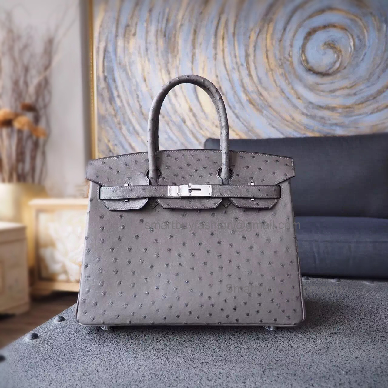 Hand Stitched Hermes Birkin 30 Bag in ck19 Mousse Ostrich SHW - 7a6eed2ed28e0