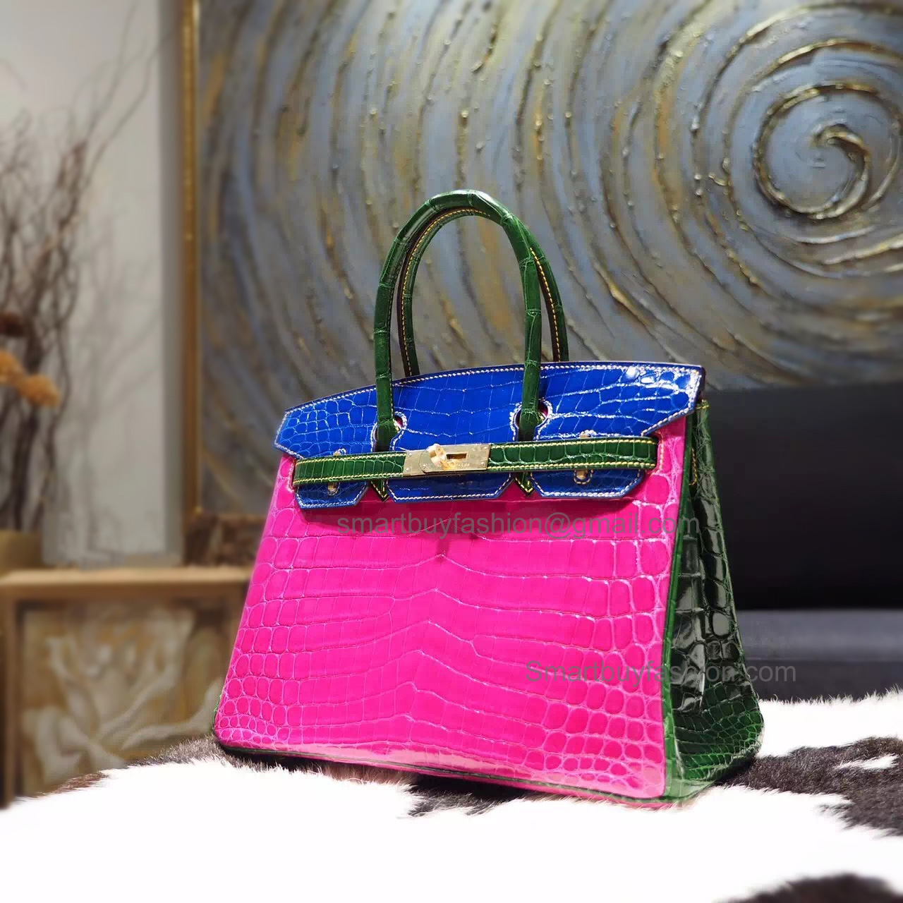 91eacd5b7772 Hand Stitched Birkin 30 Bag in Bicolored ck76 Blue Indigo Shining Nile Croc  GHW -