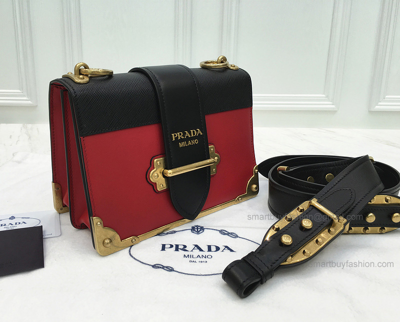 bf731407bd2dd7 Replica Prada Cahier Bag in Multicolored Red Calf Leather - Best ...