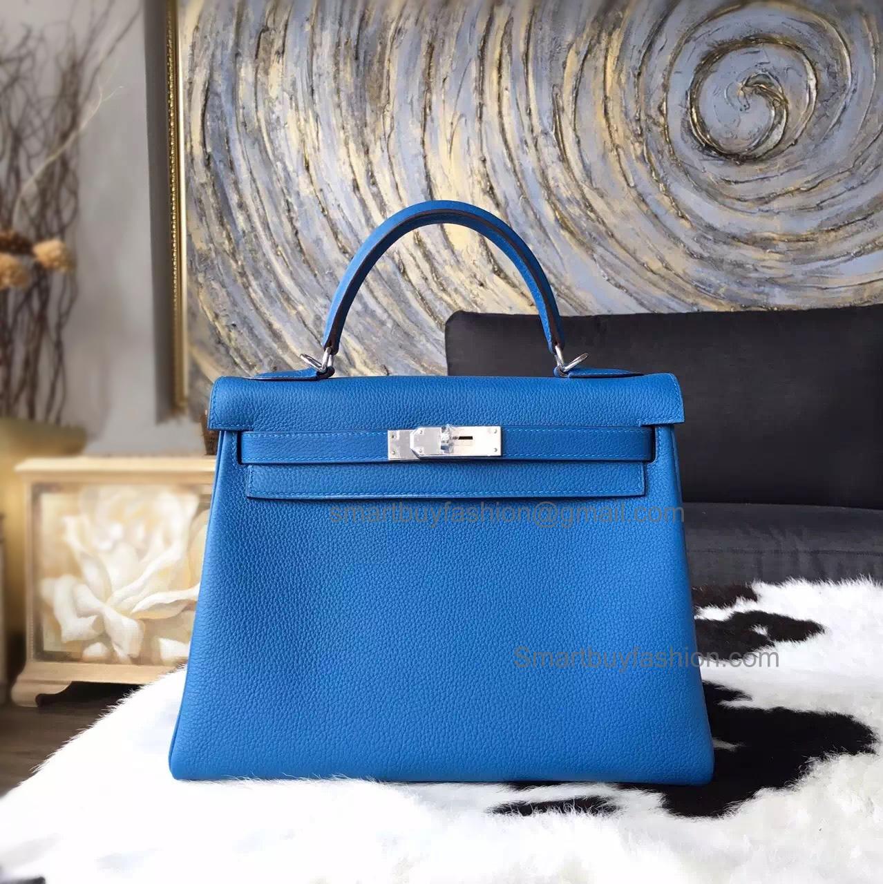 a25fcf52779c Replica Hermes Kelly 28 Handmade Bag in 7q Mykonos Clemence Calfskin GHW