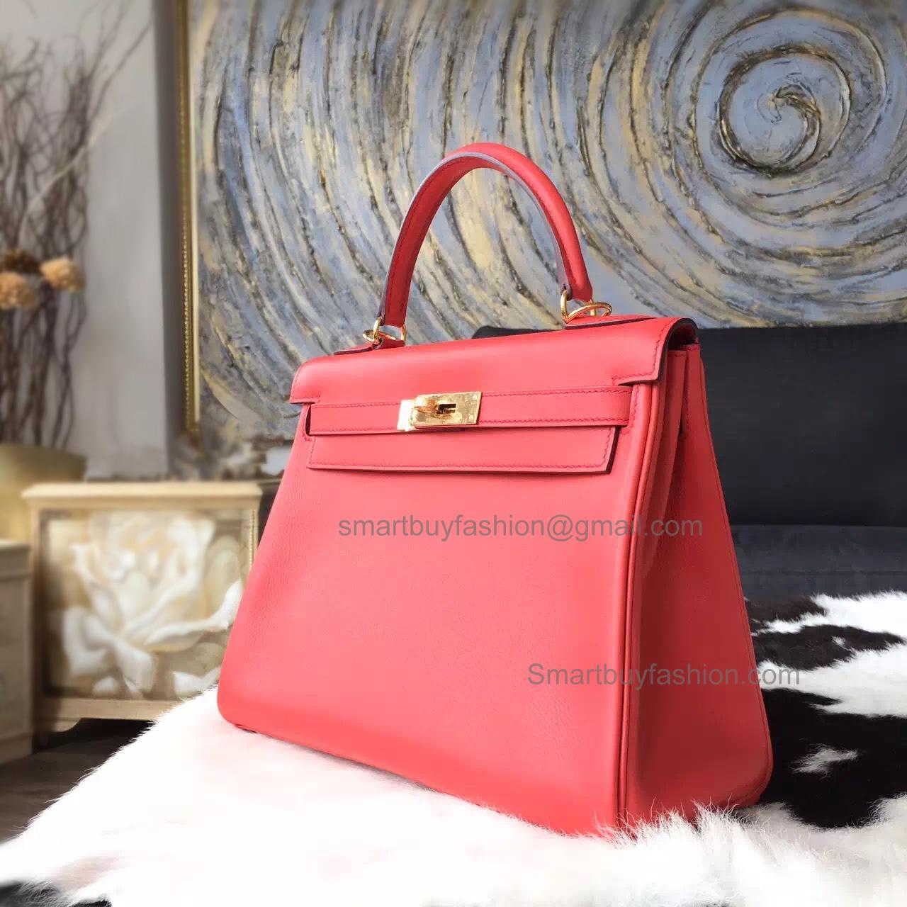 4702347f64ec Replica Hermes Kelly 28 Handmade Bag in t5 Rose Jaipur Swift Calfskin GHW