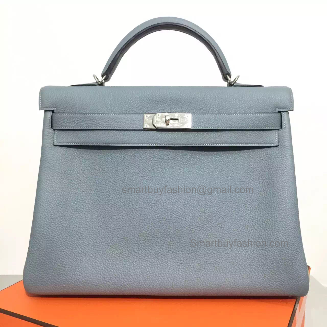 Handmade Hermes Kelly 40 Replica Bag in Bicolored j7 Blue Lin Togo Calfskin PHW