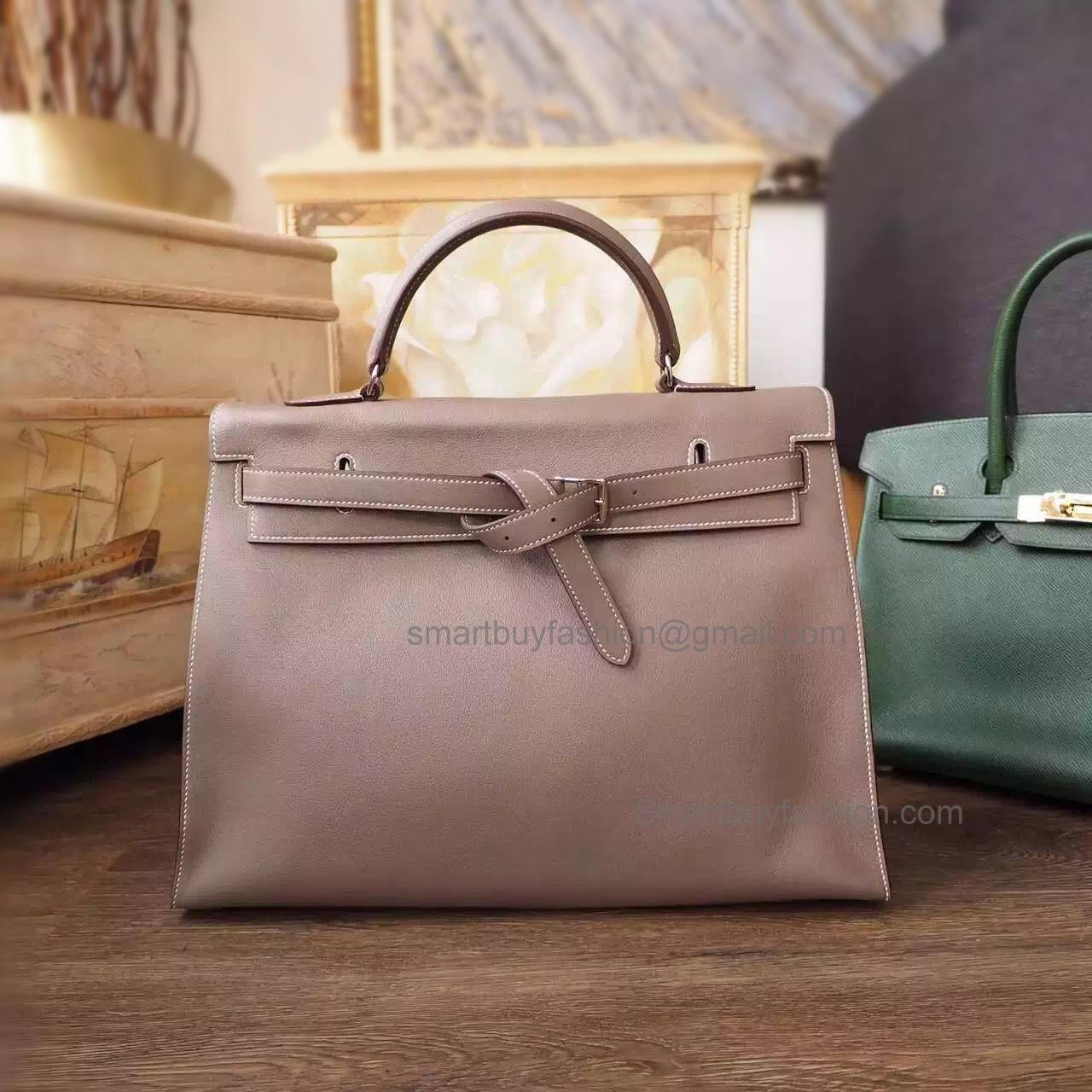87753231b5 Handmade Hermes Kelly Flat 35 Replica Bag in ck18 Etoupe Swift Calfskin PHW  -