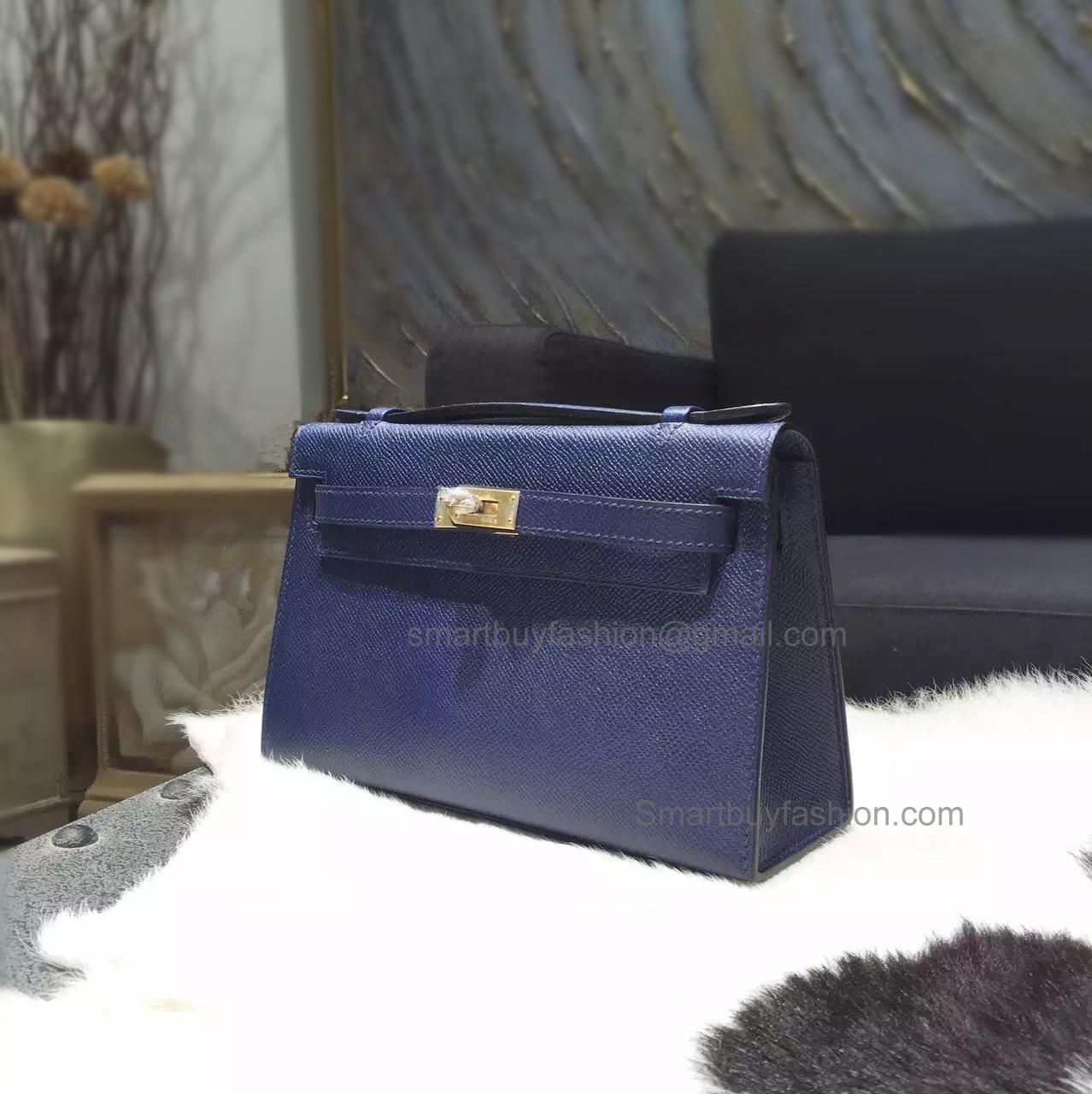 42c829fe936c Hermes Mini Kelly 22 Pochette Copy Bag in ck37 Blue Saphir Epsom Calfskin  GHW
