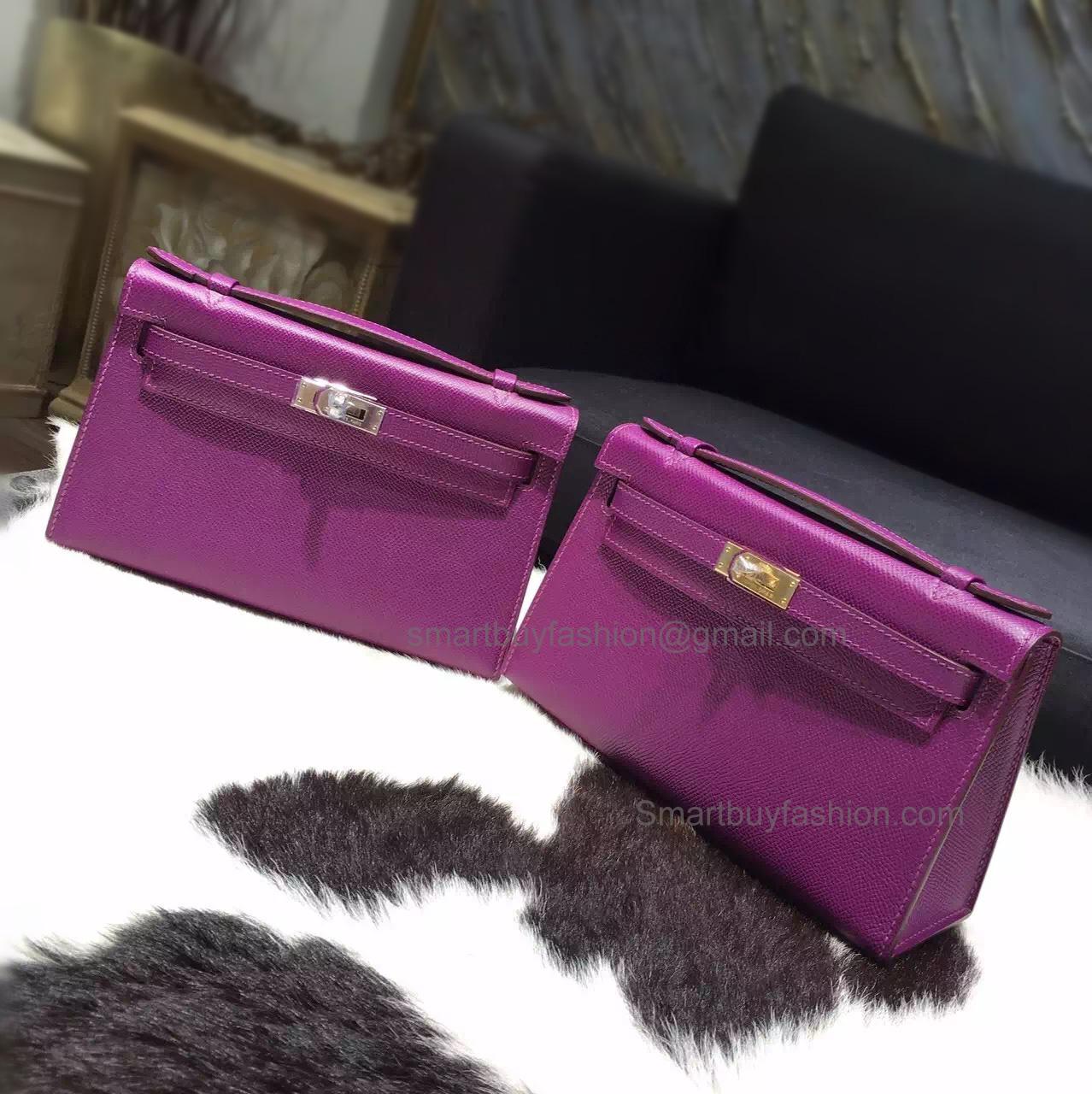 Handmade Hermes Mini Kelly Pochette 22 Bag in p9 Anemone Epsom Calfskin 930b9ac4ab69e
