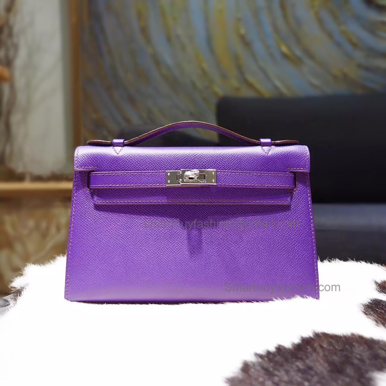924c77916346 Hermes Mini Kelly 22 Pochette Copy Bag in 9w Crocus Epsom Calfskin PHW
