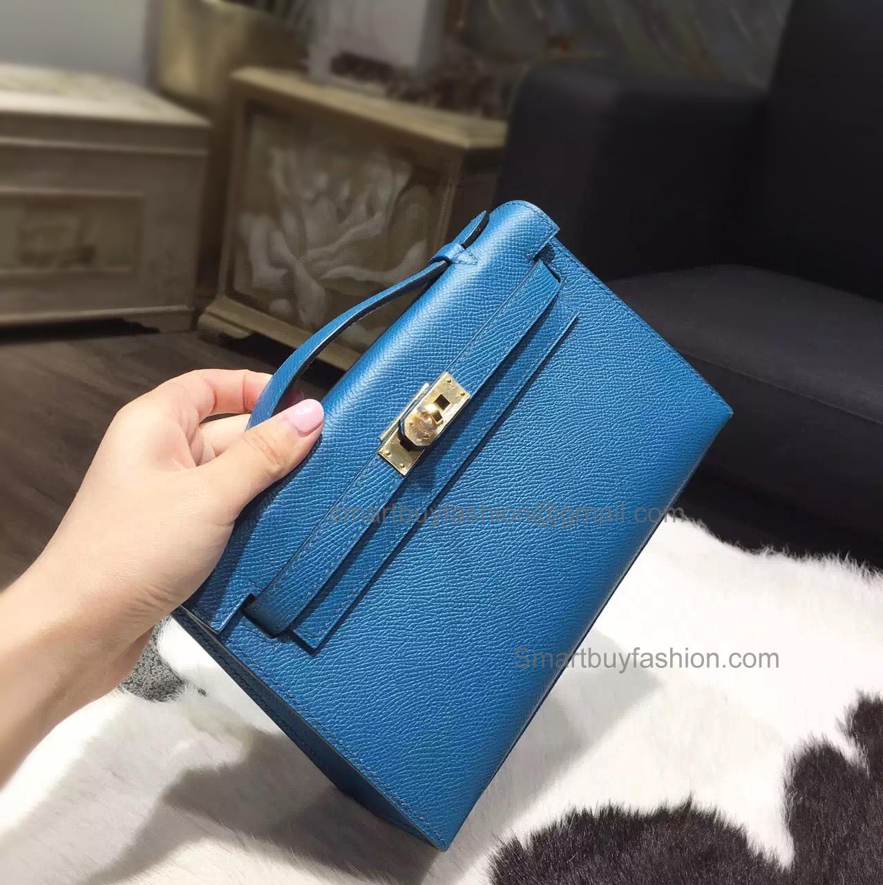 3826b4963aa0 Hermes Mini Kelly 22 Pochette Copy Bag in 7w Blue Izmir Epsom Calfskin GHW
