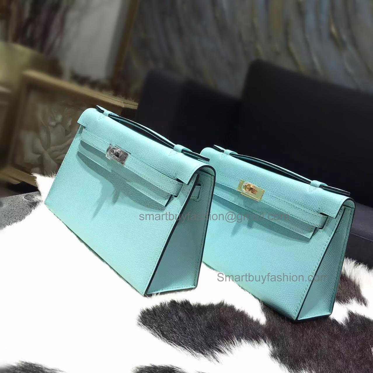 Hermes Mini Kelly 22 Pochette Copy Bag in 3p Blue Atoll Epsom Calfskin b5eec5e9116d7