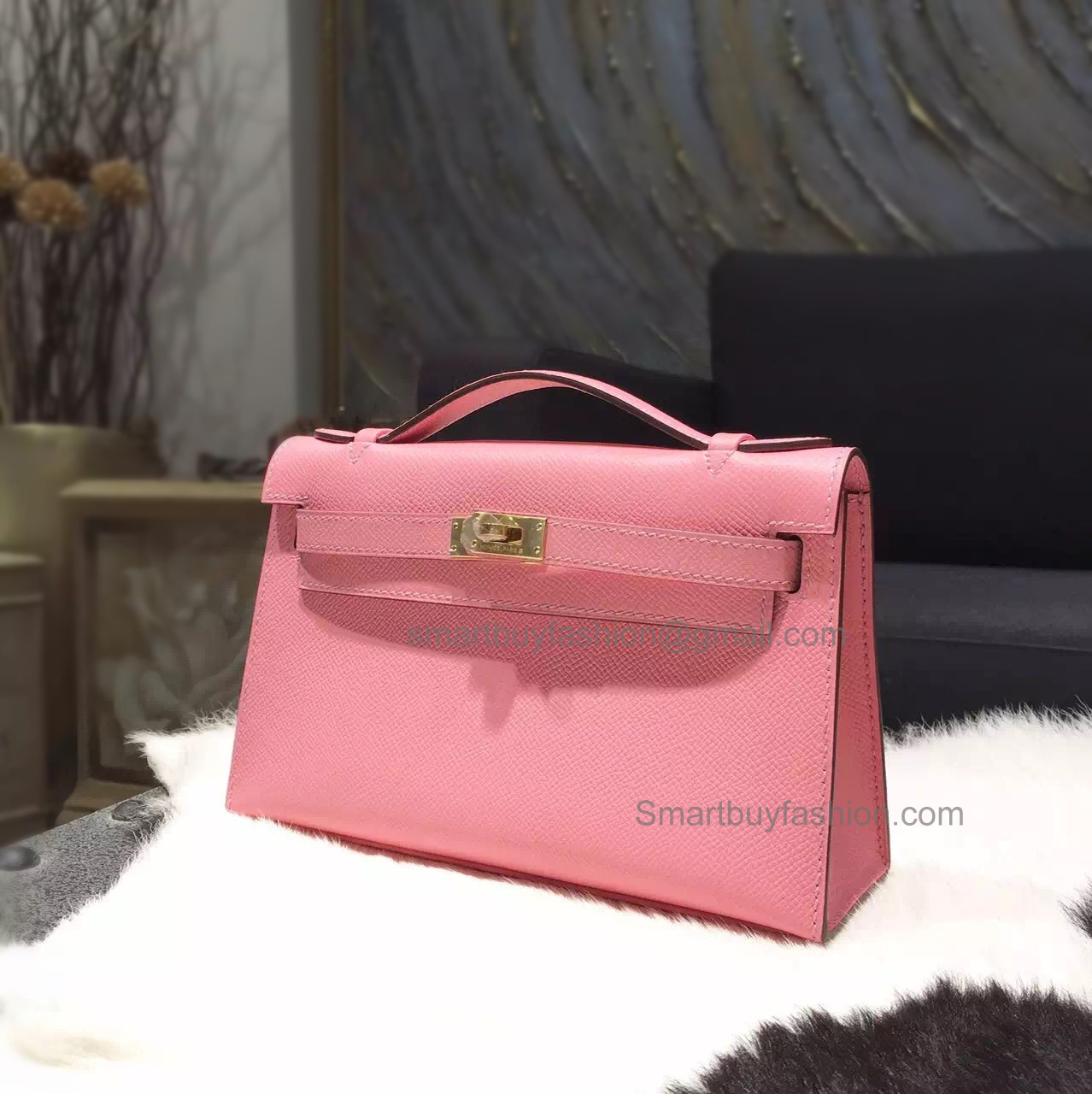 18b8bb96481c Hermes Mini Kelly 22 Pochette Copy Bag in 1q Rose Confetti Epsom Calfskin  PHW