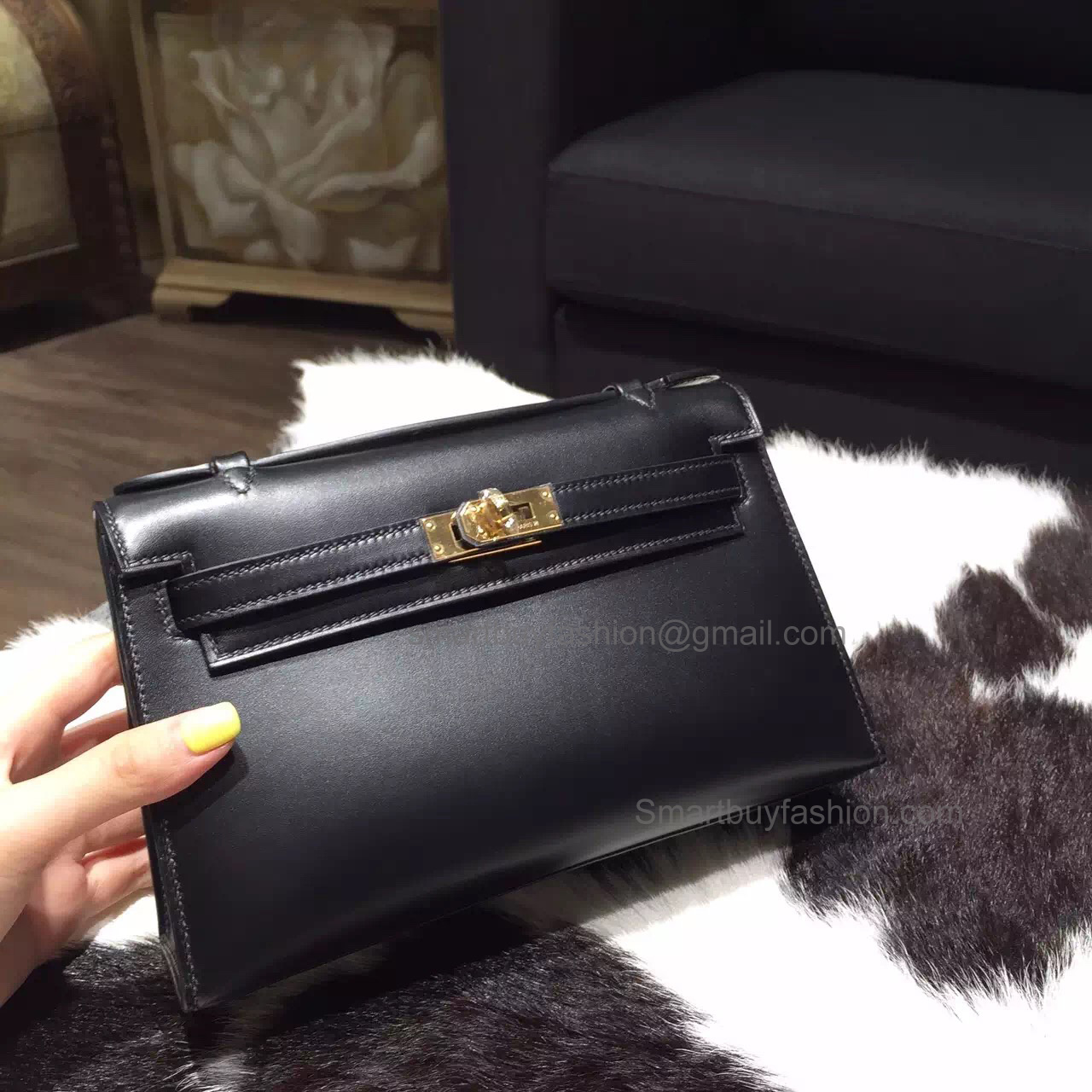 09329d61a3a6 Handmade Hermes Mini Kelly 22 Pochette Copy Bag in ck89 Noir Box Calfskin  GHW