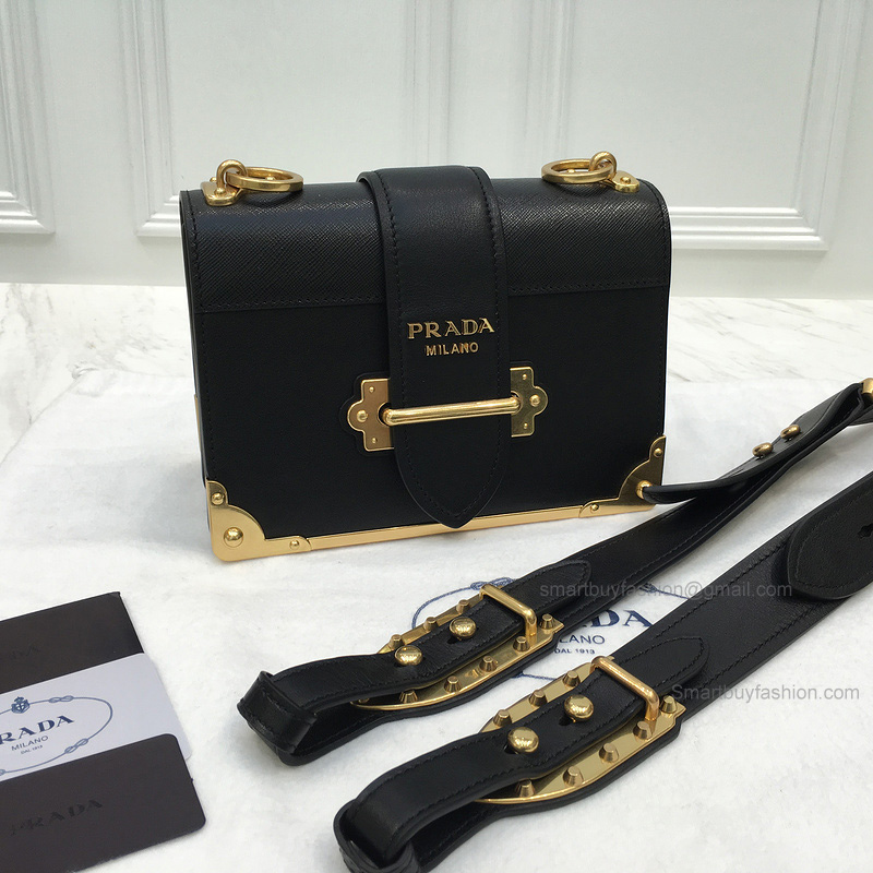 56029e910a Replica Prada Cahier Bag in Black Calf Leather -