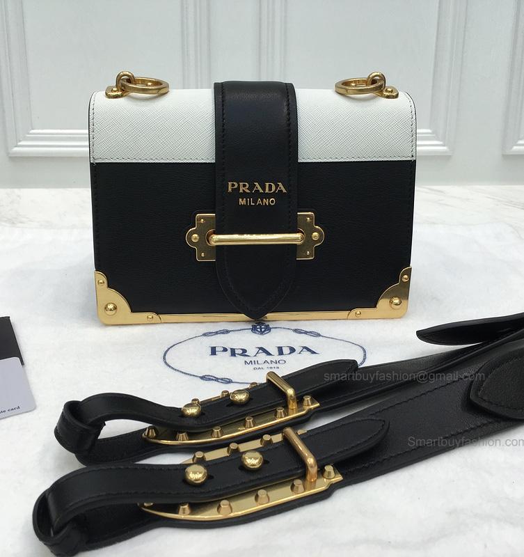 38f723ed18a9 Replica Prada Cahier Bag in Bicolored Chalk Calf Leather