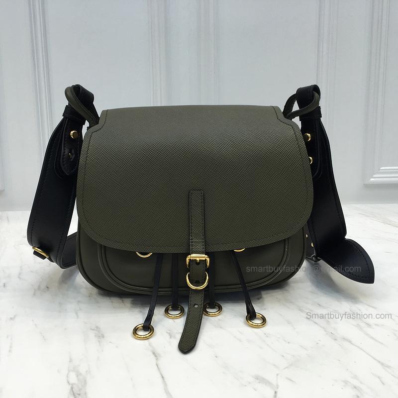f1704aed366b Replica Prada Corsaire Bag in Bicolored Military Green Calf Leather