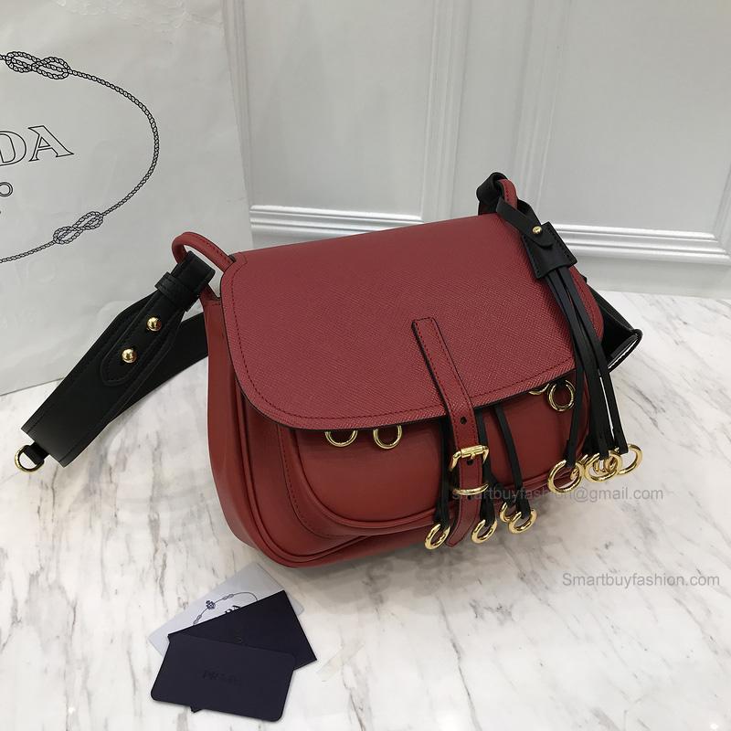 d2a7cfb4a54c Replica Prada Corsaire Bag in Bicolored Terracotta Calf Leather