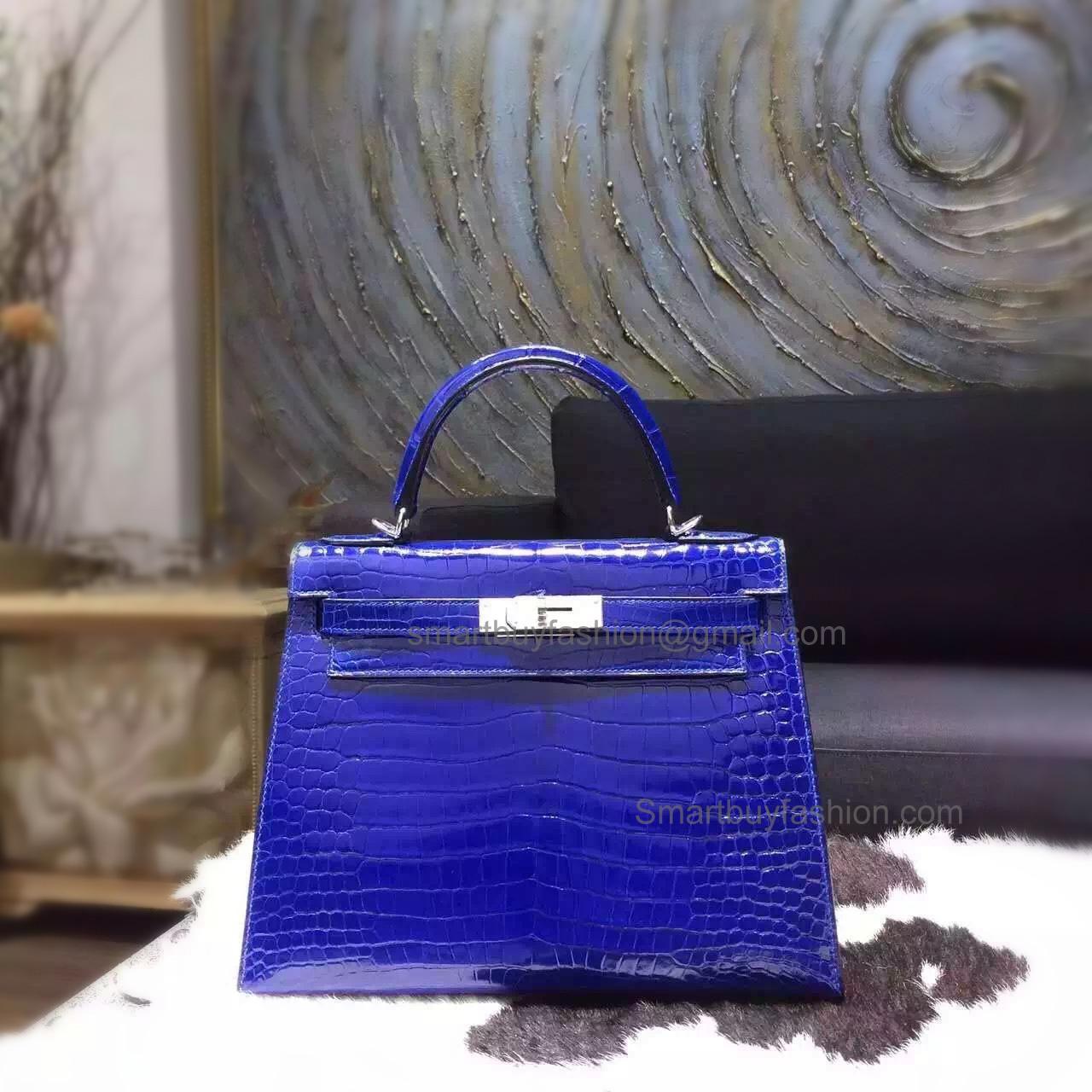 b2d4d7c7e239 Replica Hermes Kelly 28 Bag in 7t Blue Electric Shining Porosus Crocodile  SHW