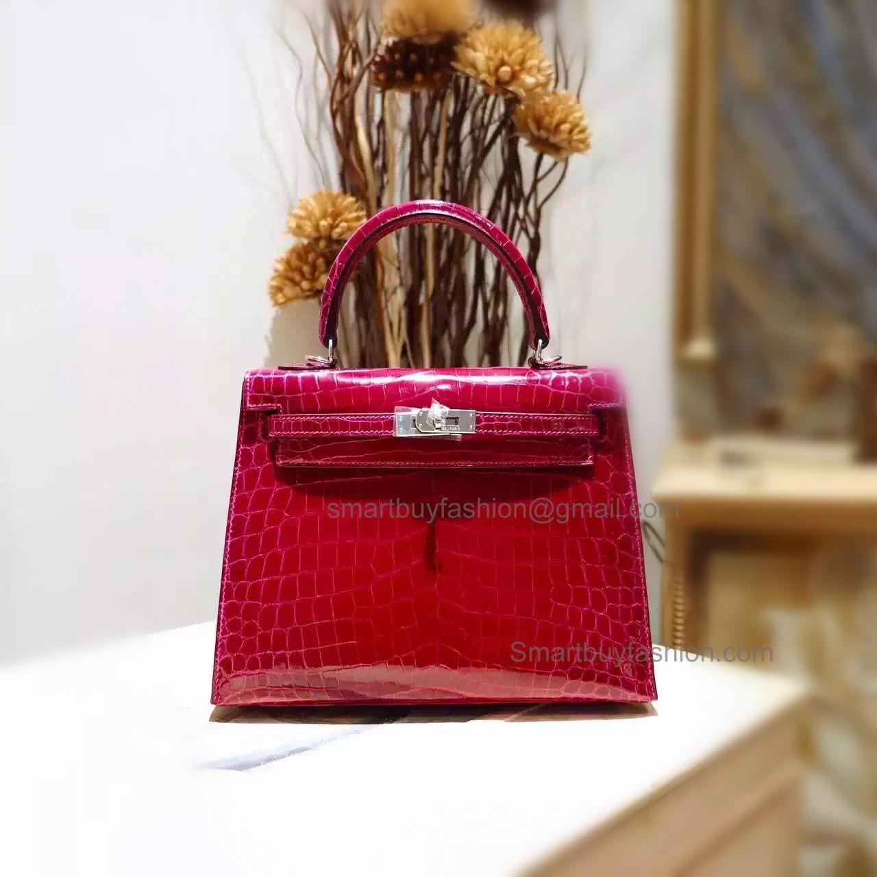 ce4f670f862e ... aliexpress replica hermes kelly 25 handmade bag in f5 bourgogne shining  niloticus croc shw 12cb4 e8578