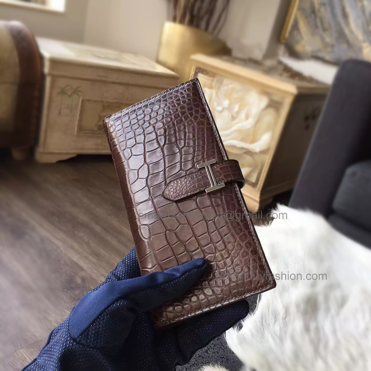 Hermes Bearn Wallet Hand Stitched in ck47 Chocolat Matte Porosus Croc PHW