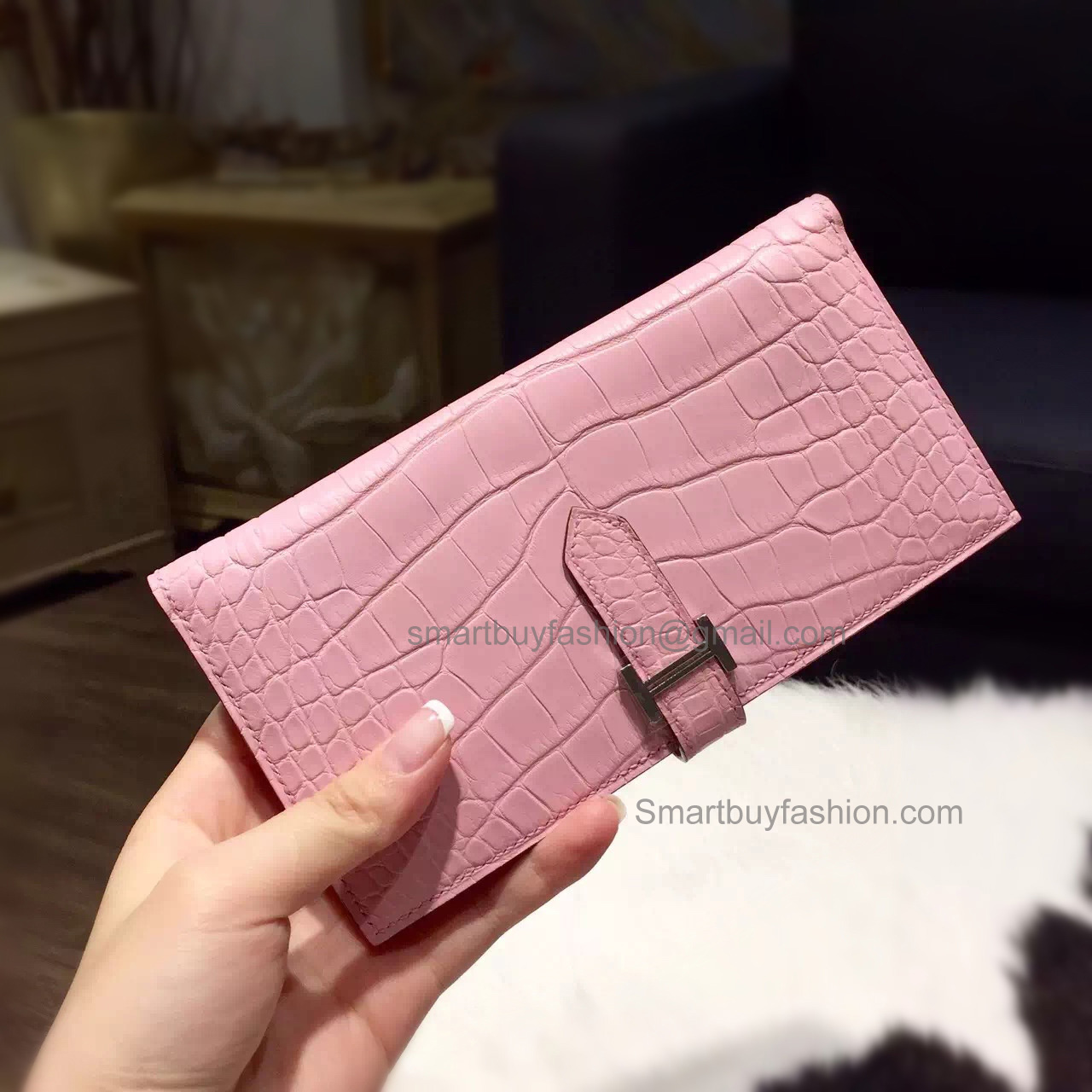 Hermes Bearn Wallet Hand Stitched in 5p Pink Matte Niloticus Croc PHW