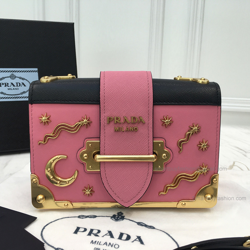 257a5c68e7ea Prada Small Velvet Astrology Cahier Bag in Pink and Black Calf Leather -