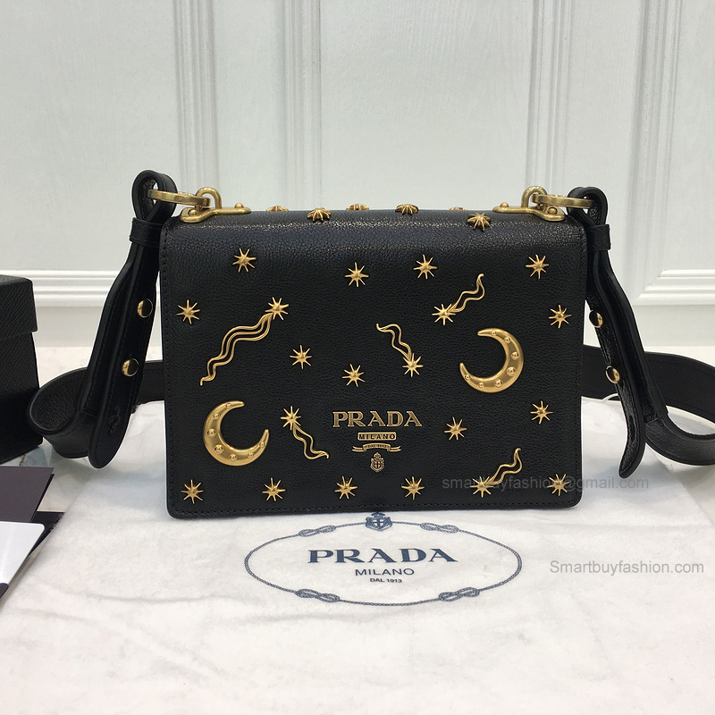 eeecea211e6a Replica Prada Small Astrology Cahier Bag in Black Grained Leather -
