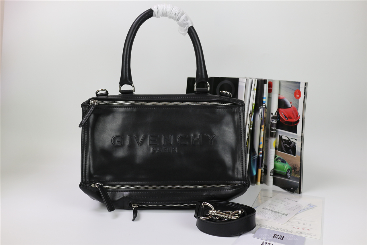 b68a25f1f14c Replica Givenchy Large Pandora Tote in Black Lambskin with Large Stamped  Logo De